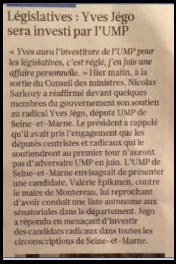 Yves Jégo sera investi par l'UMP