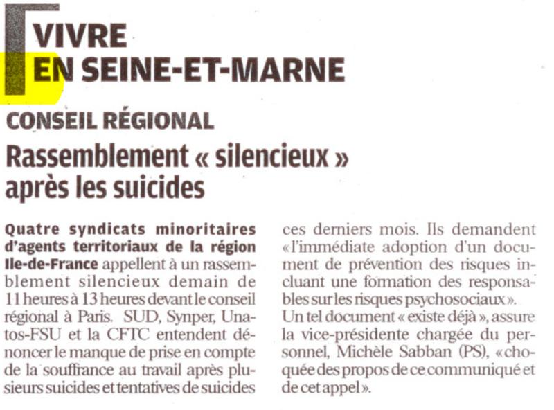 Capture suicides régions