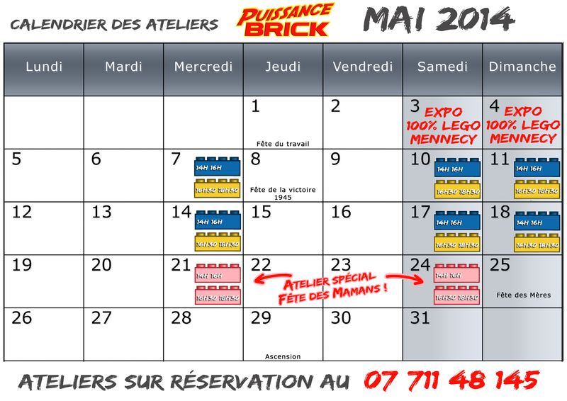Calendriers mai 2014 ateliers puissance brick
