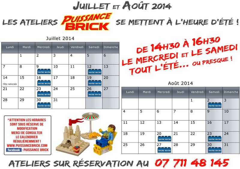 Calendriers juillet aout lego