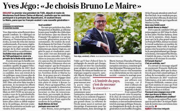 Yves Jégo soutiendra Bruno Le Maire