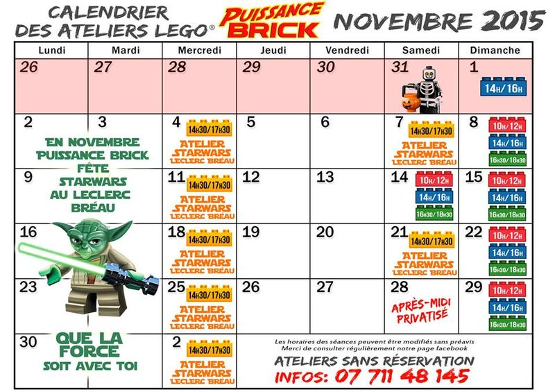Planning ateliers novembre lego