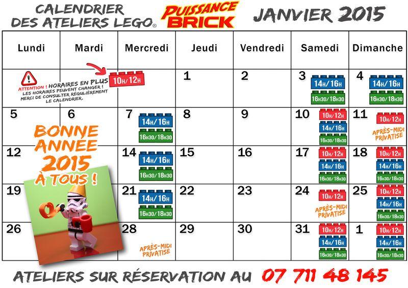 Calendriers JANVIER 2015 ateliers puissance brick