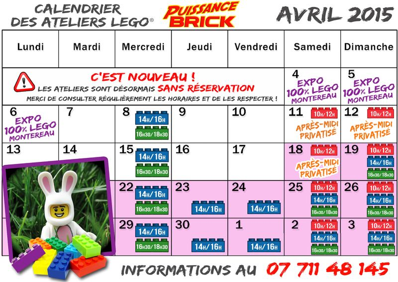 Calendriers AVRIL 2015 ateliers puissance brick