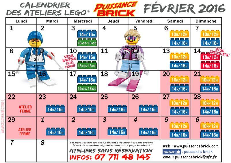Calendriers FEVRIER ateliers puissance brick