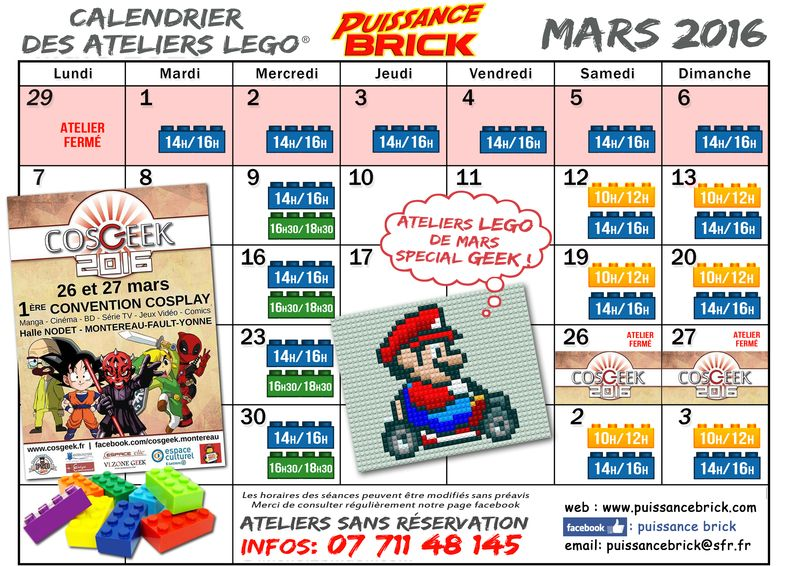 Calendriers MARS 2016 ateliers puissance brick
