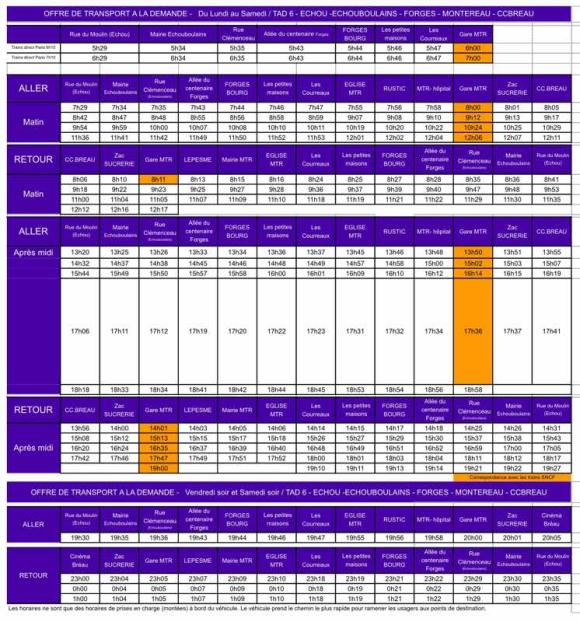 Proposition d'horaires et parcours du TAD d'Echouboulains-Forges