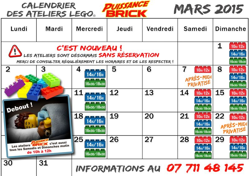 Calendriers MARS 2015 ateliers puissance brick